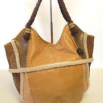 The Sak Genuine Leather Brown Hobo Shoulder Bag Tote Satchel Handbag Purse Photo