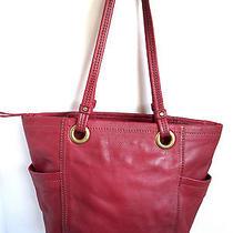 The Sak Genuine Red Pebbled Leather Large Shoulder Tote Satchel Ellis Purse Photo