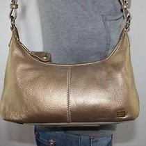the Sak Gold Small Leather Shoulder Hobo Tote Satchel Slouch Purse Bag Photo