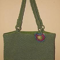The Sak Green Crochet Tote Purse Bag With Fun Detachable Flower Photo