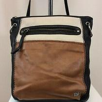 The Sak Handbag Purse Crossbody Black Brown White Leather Small Photo
