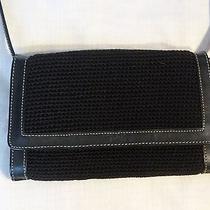 The Sak  in Euc - Black Crochet With Black Leather Trim Photo