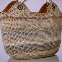 The Sak Indio Crochet Satchel Tote Hand Bag Color Sand Stripe  Photo