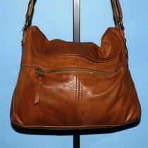 The Sak Katniss Brown Textured Leather Med Convertible Messenger Hobo Purse Bag Photo