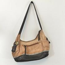 The Sak Kendra Hobo Shoulder Bag Brown Leather Womens Purse Zip Photo