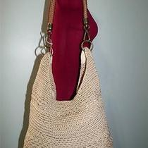 The Sak Khaki Crochet Shoulder Bag With Leather & Brown Crochet Strap Euc Photo