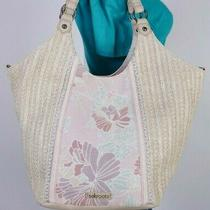 The Sak Large Beige Pink Straw Faux Leather Shoulder Hobo Tote Satchel Purse Bag Photo