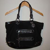 The Sak Large Black Knit Crochet Tote Bag Shopper Purse W/ Stud Embellishment Photo