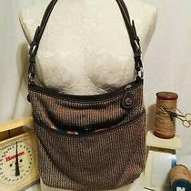 The Sak Large Crocheted Brown Purse or Hobo Bag  Photo