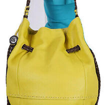 The Sak Large Yellow Brown  Leather Shoulder Hobo Tote Satchel Purse Bag Photo