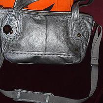 The Sak Leather Handbag Iris Graphite Metallic Satchel With Shoulder Strap Photo