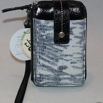 The Sak Leather Iris Smartphone Iphone Wristlet Black & White Exotic 105474 Nwt Photo
