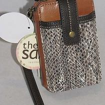 The Sak Leather Iris Smartphone Iphone Wristlet Brown Snakeskin 105474 Nwt Photo