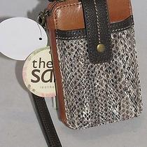 The Sak Leather Iris Smartphone Iphone Wristlet Brown Snakeskin 105474 Nwt Photo