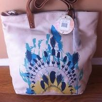 The Sak Leather Tote White W Painted Feather Photo