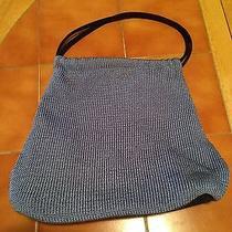 The Sak Light Blue Nylon Microfiber Handbag Button Close Purse Photo