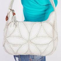 The Sak  Medium Beige Leather Shoulder Hobo Tote Satchel Purse Bag Photo