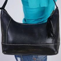 The Sak Medium Black  Leather Shoulder Hobo Tote Satchel Purse Bag Photo