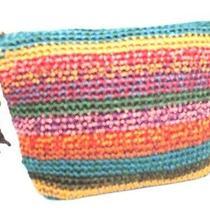 The Sak  Multi-Colored Striped Crochet Clutch / Cosmetic Bag. Photo