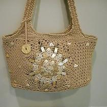 The Saknatural Beige Crochet Mother of Pearl Bead Worktote Style Shoulder Bag Photo