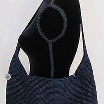 The Sak Navy Blue Classic Hobo Crochet Tote Bag Purse Shopper Nwot Photo