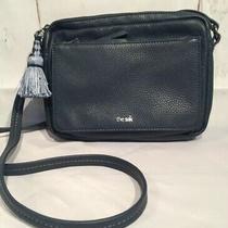 The Sak Navy Leather Purse Handbag Bag Crossbody Medium E8 Photo