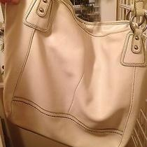 The Sak Off White Leather Tote With Green Trim Photo