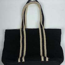 The Sak Original Black & Tan Crochet Tote Handbag Purse Photo