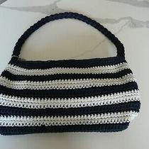 The Sak Original Navy & White Striped Crochet Handbag Purse Braided Stap Zipper Photo