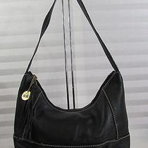 The Sak Pink Label Black Leather Hobo Bucket Purse Handbag Pink Satin Lining Photo