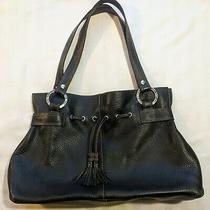 The Sak Pink Label Black Leather Pebble Shoulder Handbag Purse Satchel Tote  Photo