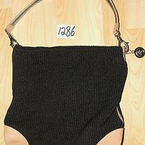 The Sak Pink Label Brown Leather & Black Knit Shoulder Tote Bag  Photo