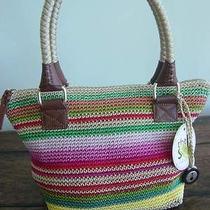 The Sak Playa Stripe Cambria Crochet Shoulder Pink Blue Yellow Satchel Bag Tote Photo