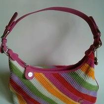 The Sak Purse Bright Colorful Knitted Pattern Zip Up Shoulder Bag Photo