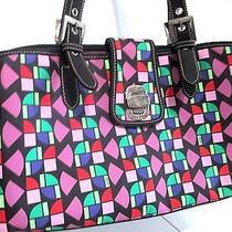 The Sak Purse Handbag Bright Colors Purple Lining Geometric Mod Shapes Photo