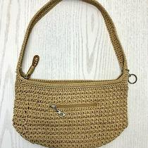 The Sak Purse Handbag Shoulder Bag Tan Crochet Look One Strap Hobo Medium Cloth Photo