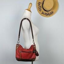 The Sak Red Leather Braided Strap Shoulder Bag Photo