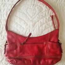 The Sak Red Leather Hobo Handbag Purse Shoulder Bag With Tan Stitched Detailing Photo