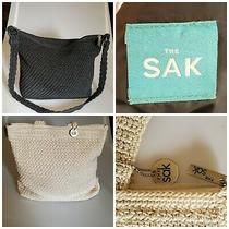 The Sak Set of 2 Black Cream Crochet Knit Medium Crossbody Hobo Shoulder Bags Photo