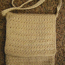 The Sak Small Creme Crocheted Fabric Microfiber Crossbody Hand Bag Purse Photo