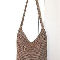 The Sak Tan Brown Crochet Handbag Hobo Purse Large Tote Shoulder Bag Bucket Euc Photo