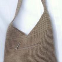 The Sak Tan Classic Crochet Knit Bucket Hobo Shoulder Crossbody Handbag Tote   Photo