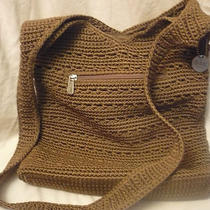 The Sak Tan Classic Crochet Knit Hobo Bucket Shoulder Crossbody Handbag Purse  Photo