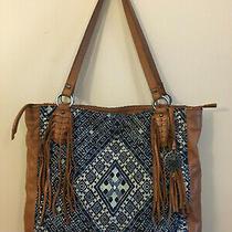 The Sak Tan Leather Blue Montara Tapestry Shoulder Bag Boho Tote Purse Fringe Photo