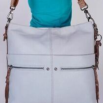 the Sak Very Lrg Light Blue Brown Leather Shoulder Hobo Tote Satchel Purse Bag Photo