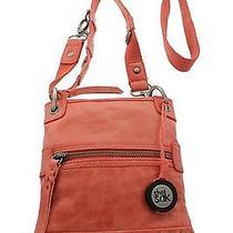 The Sak Womens Orange 100% Genuine Leather 3-Way Small Bag Brand New Photo