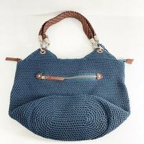 The Sak Woven Blue Crochet Hobo Style Bag Leather Handle Purse Shoulder Bag Photo