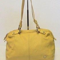 The Sak Yellow Leather Doctor Satchel Bowling Handbag Tote Shoulder Purse Photo