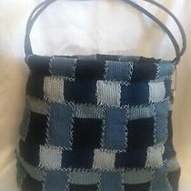 The San Tote/purse. Stitched Blue Checks. Snap. Strap Length 11