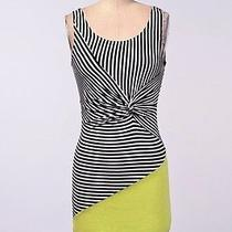 The Seafarer Knot Jersey Stripe Yellow Coloblock Dress M & Anthropologie Gift  Photo